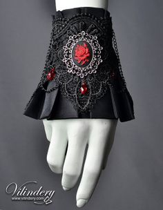 Vampire Goth Victorian Cuff Bracelet with rose cameo and red glass crystals, Dark Fashion, Elegant Goth Wedding Jewelry, Lolita Accessories https://www.etsy.com/shop/Vilindery