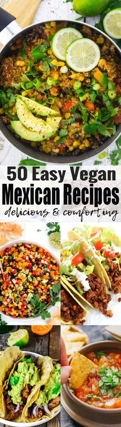 If you like Mexican food, you will love these 38 vegan Mexican recipes! We've got vegan tacos, vegan burritos, vegan enchilada, and so much more! Vegan comfort food at its best! Find more vegan recipes at veganheaven.org <3 Vegetarian Mexican Recipes, Vegan Dinner Recipes, Easy Recipes, Delicious Vegan Recipes, Vegan Dinners, Vegetarian Burrito, Whole Food Recipes, Keto Recipes, Vegan Lunches