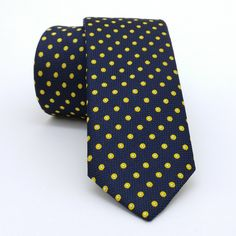 """Dark blue and yellow, white dotted men's tie 6 cm (2,36"""") DK-188. Dark blue and yellow, white dotted men's necktie DK-188 Width : 6 cm (2,36"""") Length : 150 cm (59,06"""") The tie is made of high quality microfiber fabric. The wadding inside, is stick with high temperature and vacuum which results the tie a non-swelling product. All sewing and design is handmade. You will complete your style with this tie. In order to present you full details, the picture is taken at high resolution. You can..."""