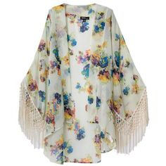 Light Yellow Floral Fringed Cape-Style Kimono ($32) ❤ liked on Polyvore featuring outerwear, light yellow, floral fringe kimono, cape coat, fringed cape, floral print kimono and fringe kimono