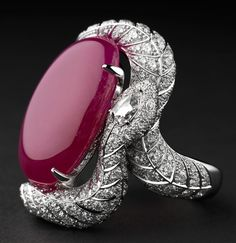 Cartier Luxuriant ring - Platinum, one cabochon-cut 36.74-carat ruby, one pear-shaped rose-cut diamond, brilliants. PHOTO Julien Claessens & Thomas Deschamps © Cartier 2012
