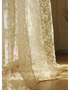 Print Beige Casual Sheer Curtain (Two Panels) – AUD $ 118.05
