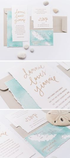watercolor, kraft, gold hand lettering, nautical wedding