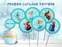 Frozen Cupcake Toppers, Frozen Party, Frozen Printable Toppers