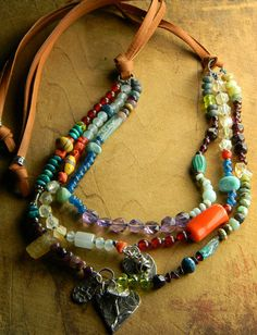 Artisan Silver Pendant Necklace Heart Colorful Multi Gem Knotted Leather Southwestern