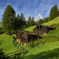 old sheds, Blatten, Zermatt, Valais Co, Switzerland by Pierre Hanquin