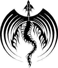 Tribal Large Wings Dragon Tattoo Design