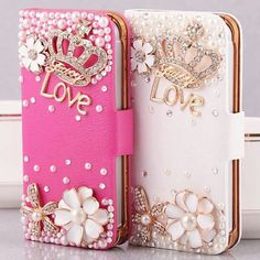 Love Forever Bling Crystal Diamond Sparkle Handbag Wallet Phone Cover Case for iPhone / Samsung Phone Rose Phone Case, Girly Phone Cases, Cell Phone Covers, Cellphone Case, Iphone 7, Iphone 5c Cases, 4s Cases, Tablet Cases, Portable Apple