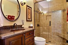 Transitional Bathroom with flush light, Jeffrey Court - Travertino Noce 4 in. x 4 in. x 8 mm Tumbled Stone Tile Modern Master Bathroom, Small Bathroom, Bathrooms, Bathroom Renovation Cost, Expandable Dining Table, Flush Lighting, Undermount Sink, Home Improvement Projects, Bathroom Accessories