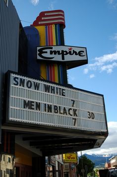 Outside shots of businesses in Livingston, Montana. Empire Theater