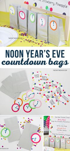 New Year's Eve Kids' Countdown Bags are a great way to keep kids busy while waiting for the new year. We used these with our Noon Year's Eve Kids Party and they were a hit. #kidsparties #newyearseveparty #noonyearseve