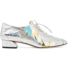 Charlotte Olympia Starman PVC-trimmed metallic leather brogues ($330) ❤ liked on Polyvore featuring shoes, oxfords, silver, metallic oxfords, brogue shoes, brogue oxford, holographic shoes and lace up oxfords