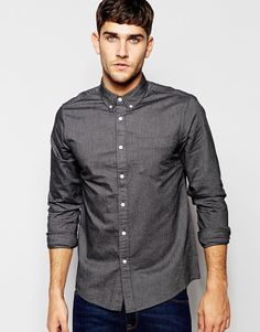 ASOS Oxford Shirt In Charcoal With Long Sleeves