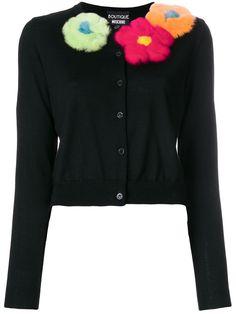 BOUTIQUE MOSCHINO BOUTIQUE MOSCHINO - FLOWER APPLIQUE CARDIGAN . #boutiquemoschino #cloth #