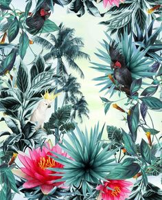 Imagen de background, wallpaper, and floral art inspiration pattern wallpap Motif Tropical, Tropical Pattern, Tropical Prints, Tropical Design, Textures Patterns, Print Patterns, Floral Patterns, Motifs Textiles, Motif Floral