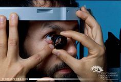 Name: James Gilman, CRA,FOPS  Description: #Ophthalmology Photograph – Positioning of gonio lens at photo #slitlamp