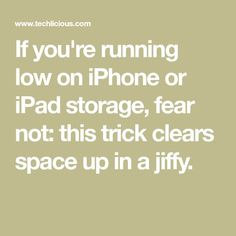 If you& running low on iPhone or iPad storage, fear not: this trick clears space up in a jiffy. Cell Phone Hacks, Iphone Life Hacks, Smartphone Hacks, Iphone Secret Codes, Iphone Codes, Iphone App, Ipad Air 2, Ipad Storage, Iphone Information