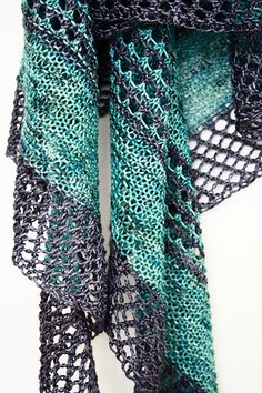Fun effortless knitting with stunning result. Showcase your favorite hand dyed yarns with lush garter stitch spiced up with eyelets and stripes. Knit Or Crochet, Lace Knitting, Crochet Shawl, Crochet Vests, Crochet Cape, Crochet Edgings, Crochet Motif, Shawl Patterns, Knitting Patterns