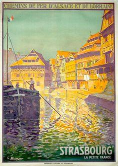 chemins de fer d'alsace et de lorraine - Strasbourg, la petite France - 1930 - illustration de Tomtchik - France -