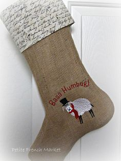 Scrooge Embroidered Burlap Christmas stocking from Petite French Market    etsy
