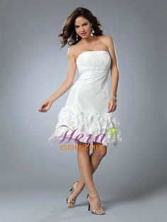 Strapless Sheath Knee length Sexy Short Feathers Wedding Dress Gown