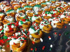 Christmas pretzels dipped in white chocolate!