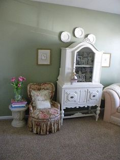 Heart back slipper chair. The china cabinet is wonderful also.
