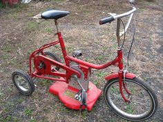 Lawn Mower Tricycle Doesn't Makes Lawn Mowing Any More Fun - Modern Design Velo Tricycle, Yard Tractors, Riding Mower, Pedal Cars, Cool Inventions, Bicycle Design, Gaudi, Custom Bikes, Cool Bikes
