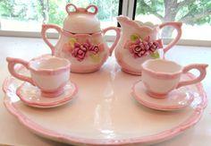 Miniature Porcelain Rose and Bow Tea Set: by VintageGlassEscape