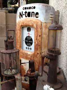 Vintage gas pump. Old Gas Pumps, Vintage Gas Pumps, Pompe A Essence, Car Man Cave, American Pickers, Old Gas Stations, Oil And Gas, Cool Bikes, Toys For Boys