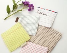 Set of 5 Fabric Drink Coasters with Notebook and Letter Prints.