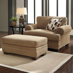 Signature Design by Ashley Furniture Kelemen - Amber Chair and a Half & Ottoman - Item Number: 4710023+14