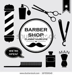 Barber shop vintage symbols set