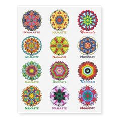Kaleidoscope Namaste Set 1 Temporary Tattoos. 40% OFF Temporary Tattoos – Use CODE: GREATZAZDEAL until Midnight 4-3-18. Twelve Terrific Temporary Tattoos that feature Kinetic Collage kaleidoscope compositions created from special effects performance art screen capture images. The greeting Namaste expresses your wish to honor the light in others as they do in you. Mix and match one or more of these cool tats with your Namaste Kaleidoscope T-Shirt or Tote Bag! Plus see more at my Zazzle store.