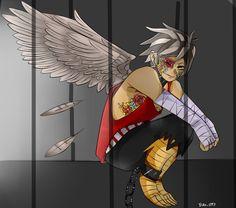 (El dibujo no es mío)Pudo ver a aquellos chicos que le habían restringido el paso junto a un hombre mitad humano y mitad águila el cual solo estaba hincando en un rincón de su jaula con un ojo al parecer cerrado