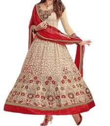 Buy 3starscreation Self Desinger Color Beige Georgette Embroidered Anarkali Dress Material  semi-stitched-salwar-suit online