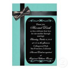 Custom Tiffany Blue and Black Leather Bow Tie Gay Wedding Invites #gaywedding #gaymarriage #gayinvites