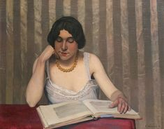 Reader with Yellow Necklace by Félix Vallotton (Swiss)