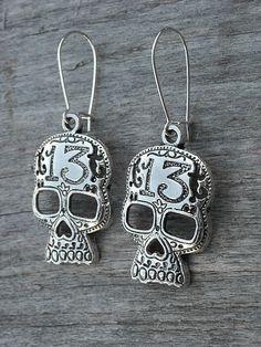 Silver Lucky 13 Skull Earrings