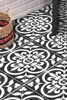 Items similar to Tile Decals - Tiles for Kitchen/Bathroom Back splash - Floor decals - Carreaux Ciment Encaustic Lys Vinyl Tile Sticker Pack in Black & Ivory on Etsy Floor Decal, Floor Stickers, Bathroom Flooring, Kitchen Flooring, Vinyl Tile Flooring, Wall Tile, Penny Flooring, Hex Tile, Garage Flooring