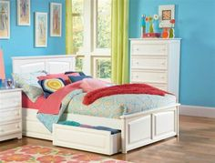 Monterey White Solid Wood Twin Storage Bed w/Raised Panel Footboard