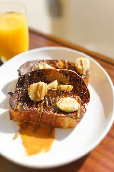 Delicious banana maple french toast for breakfast at The Yacht Club Restaurant at The Reef by CuisinArt, Anguilla.#caribbeanrestaurant, #fivestardining, #anguillarestaurant, #luxuryresort, #foodietravel