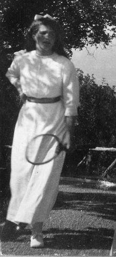 "Grand Duchess Maria Nikolaevna Romanova of Russia at the tennis courts at Livadia in 1914. ""AL"""
