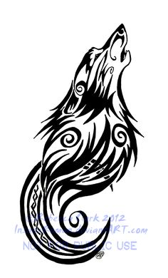 Tribal Swirls Wolf and Moon Tattoo by InsaneRoman.deviantart.com on @deviantART