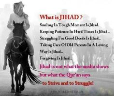 Violence & aggression in the name of Allah is NOT jihad! Islam is love, peace, kindness & not harming another human. Islamic Qoutes, Muslim Quotes, Islamic Inspirational Quotes, Islamic Teachings, Religious Quotes, Ramadan, Affirmations, Best Quotes, Life Quotes