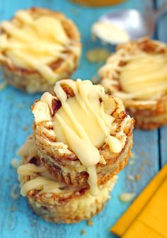 Miniature Cinnamon Roll Cheesecakes from Chelsea's Messy Apron
