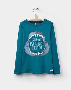 Joules US FINLAY Older Boys Screenprint T-Shirt (3-12yr) Great Barrier Teeth