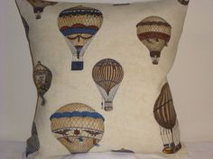 16  DESIGNER CUSHION COVER ANTIQUE MONTGOLFIER HOT AIR BALLOONS SHABBY VINTAGE