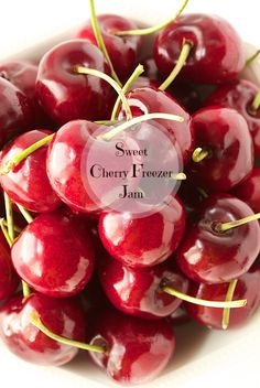 Sweet Cherry Freezer Jam - A delicious taste of fresh cherries on your toast - all year long! A super easy jam with no canning skills needed