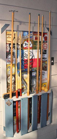 Pallet wood pool cue stick rack